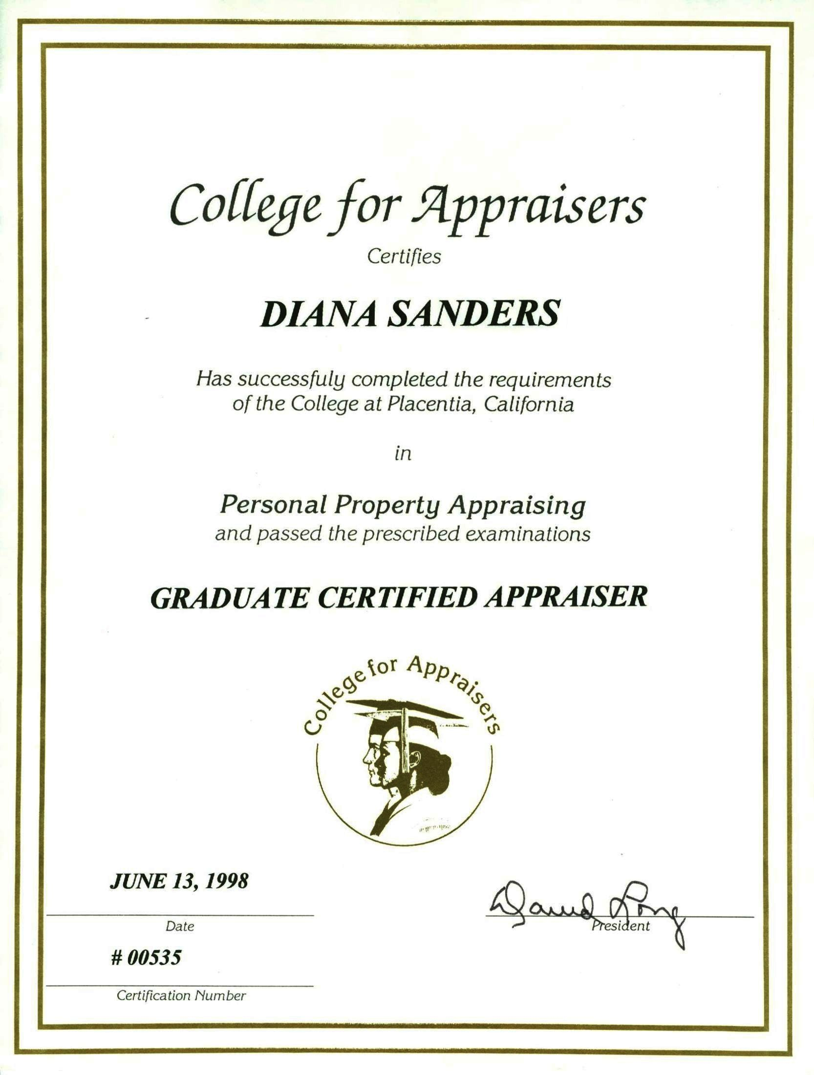 College for Appraisers, Graduate Certified Appraiser