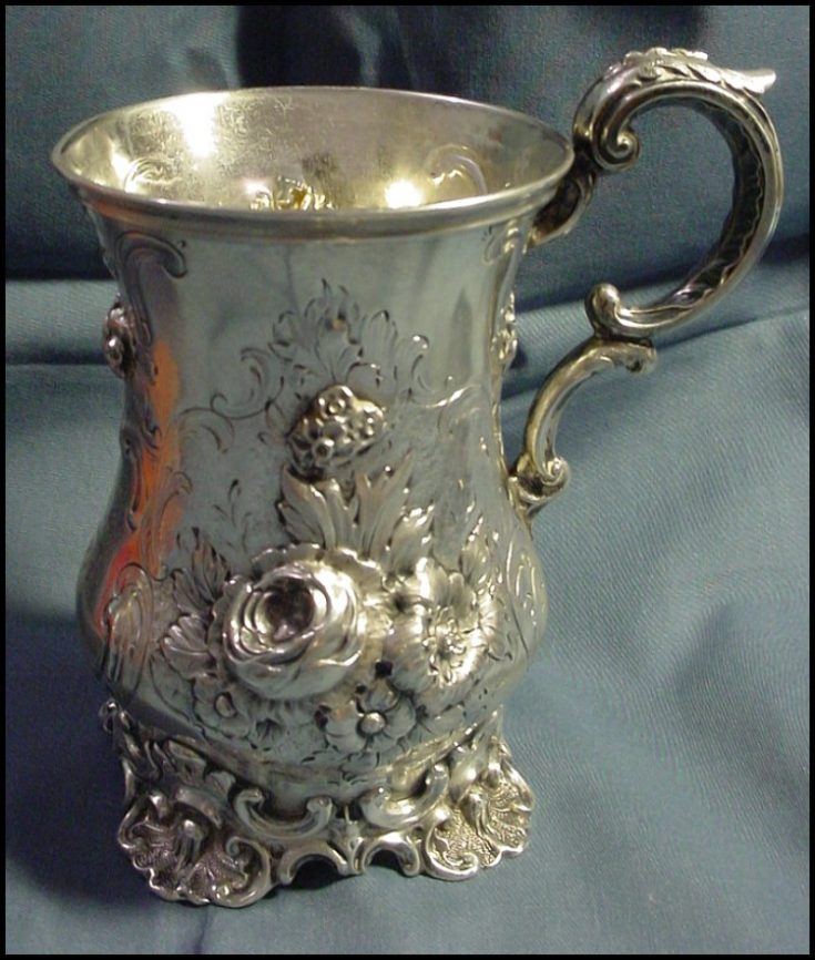 Sterling silver rococco revival beverage cup
