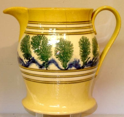 Yellowware pitcher,