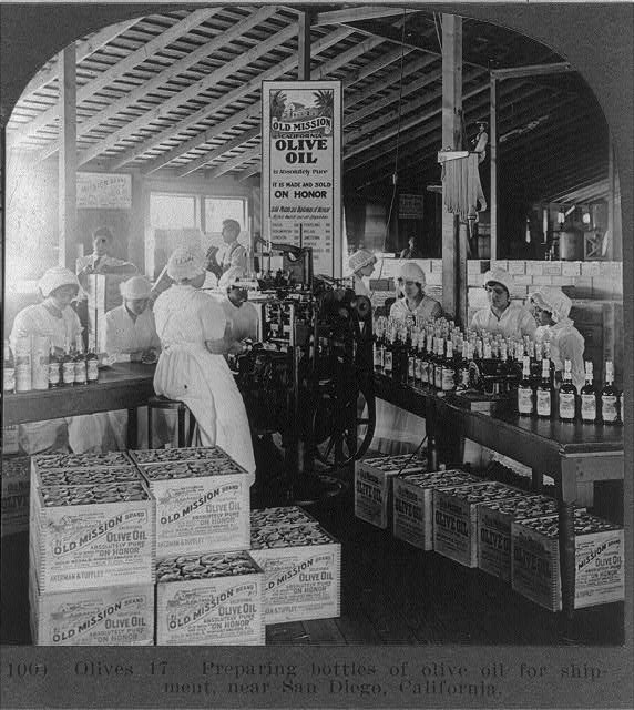 1905 packing olive oil near San Diego ca