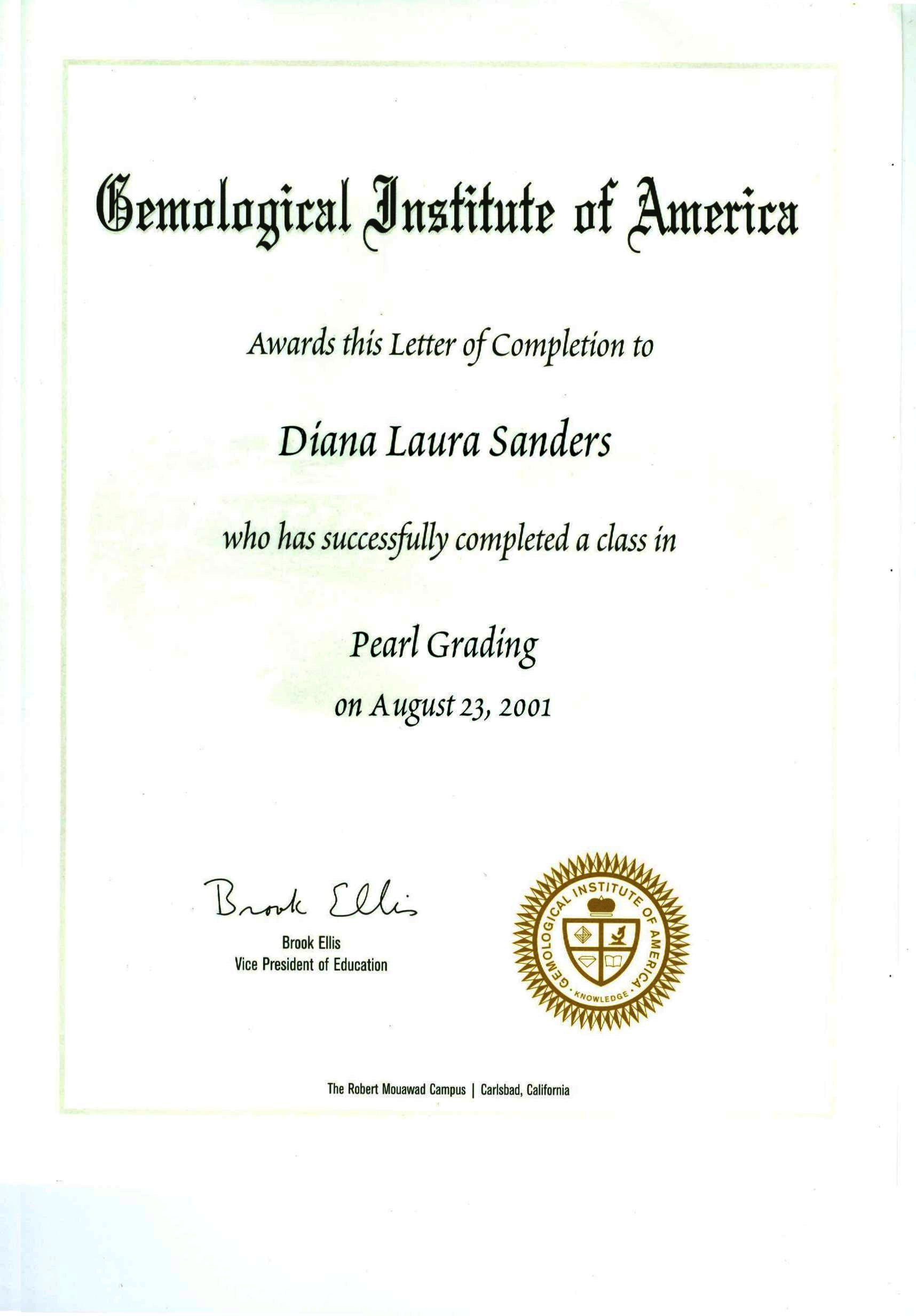 GIA pearls certificate