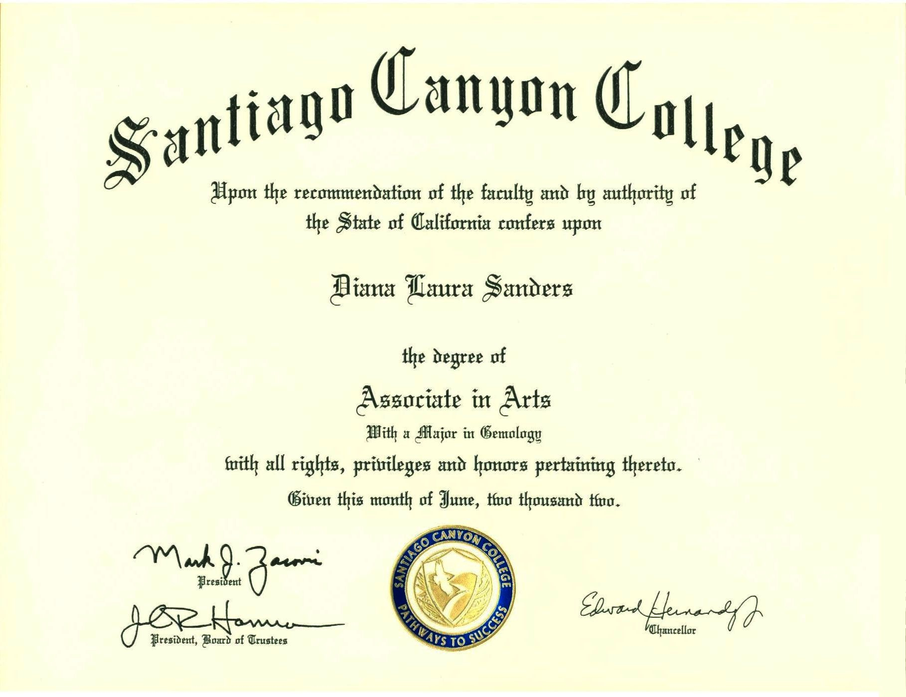 Santiago Canyon College, Associate of Arts, Gemology