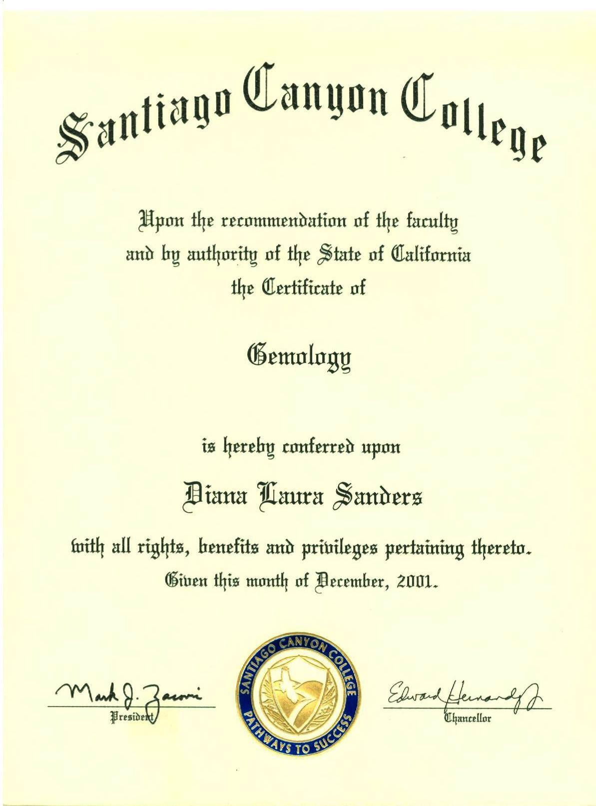 Santiago Canyon College gemology certificate